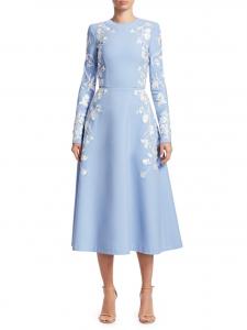 Oscar de la Renta Embroidered Floral Fit-&-Flare Dress