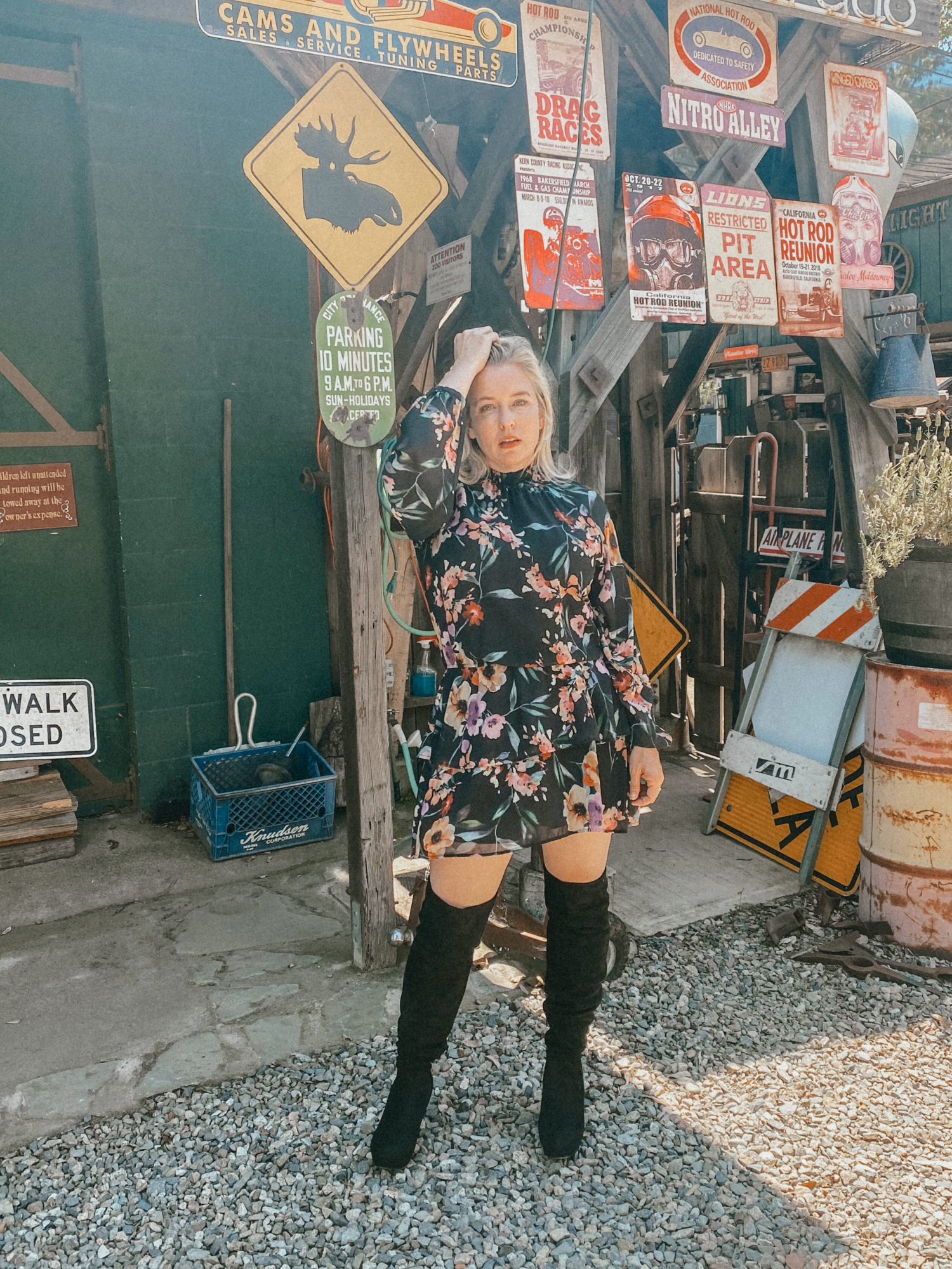 floral dresses and boots