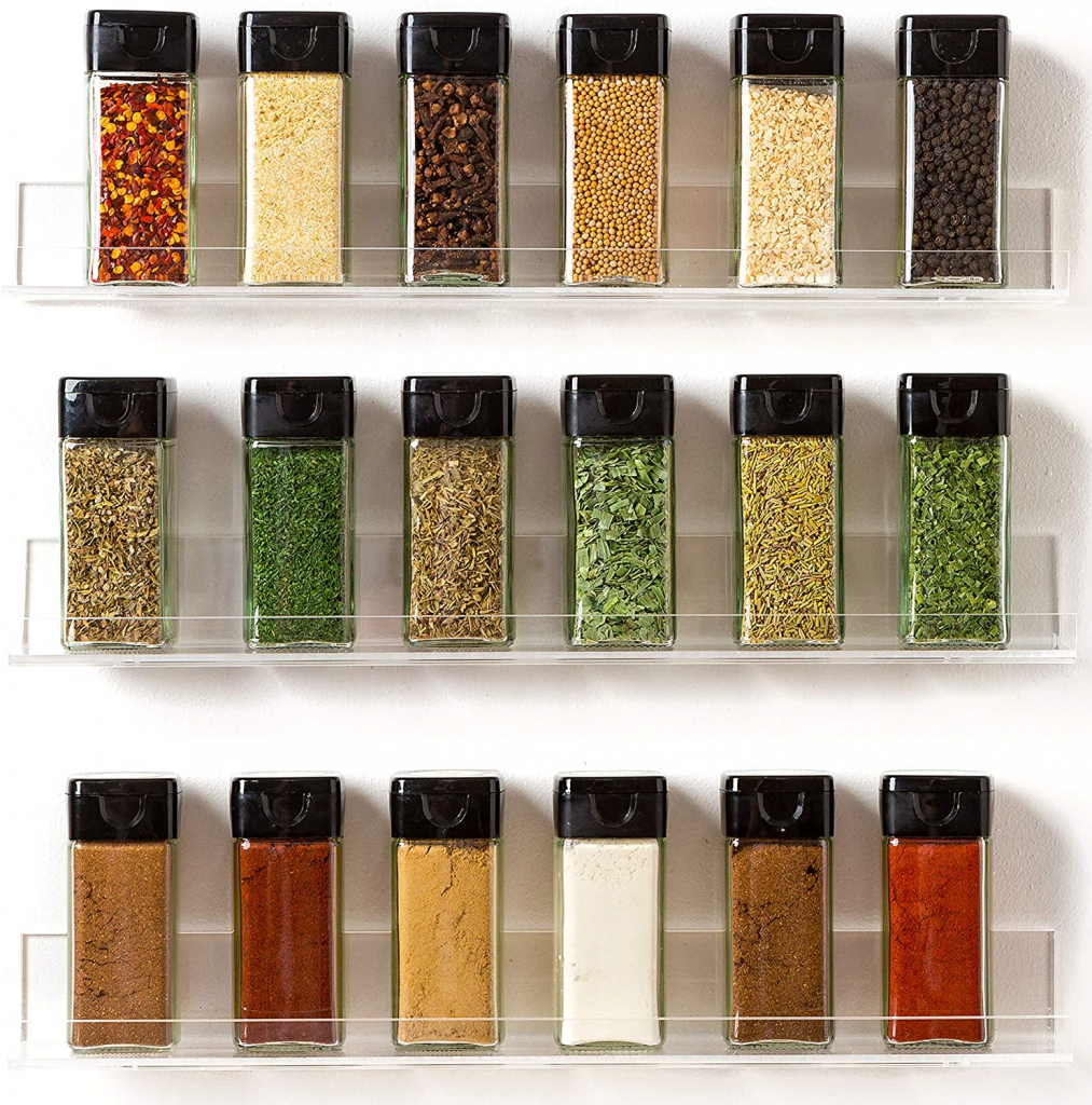 Invisible Acrylic Spice Rack Wall Mount Organizer