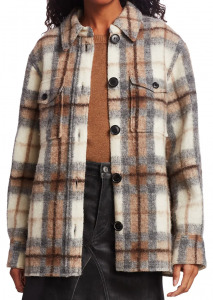 Isabel Marant Etoile Gastino Plaid Wool-Blend Jacket $545