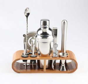 bartending kit with wooden stand