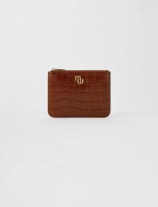 maje crocodile leather pouch