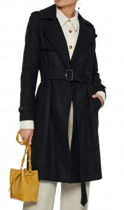 Double-breasted belted wool-blend felt coat
