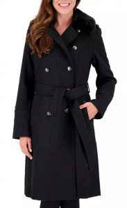 Faux-Fur-Collar Double-Breasted Belted Coat
