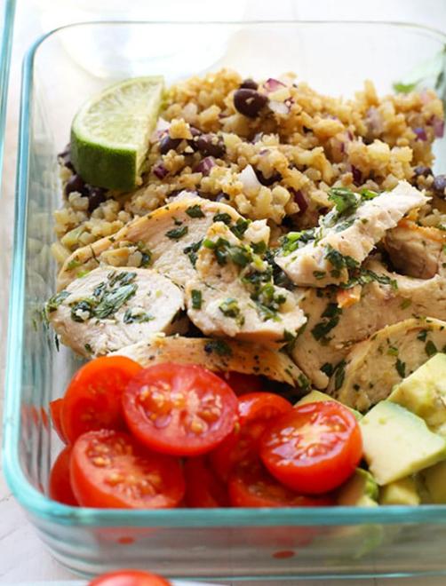 cilantro lime chicken with cauliflower rice