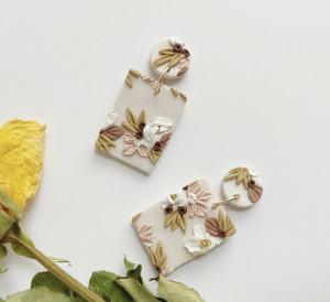 floral clay earrings