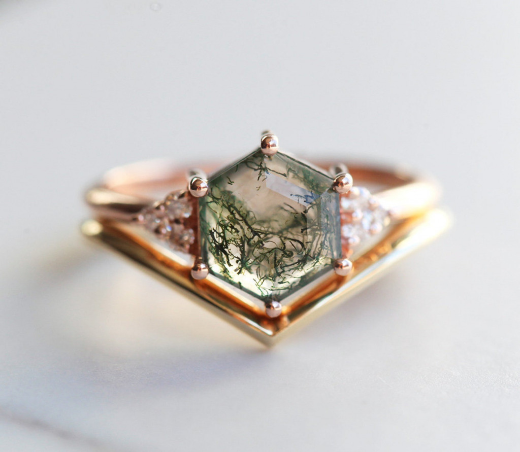 hexagon moss agate ring set