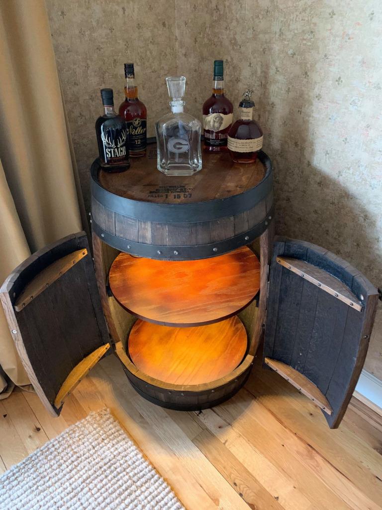 bourbon barrel cabinet