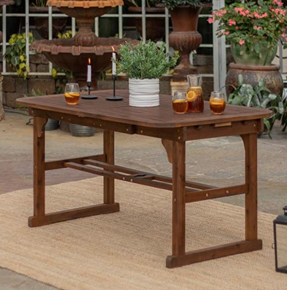 Walker Edison Maui Modern Solid Acacia Wood Slatted Patio Dining Table