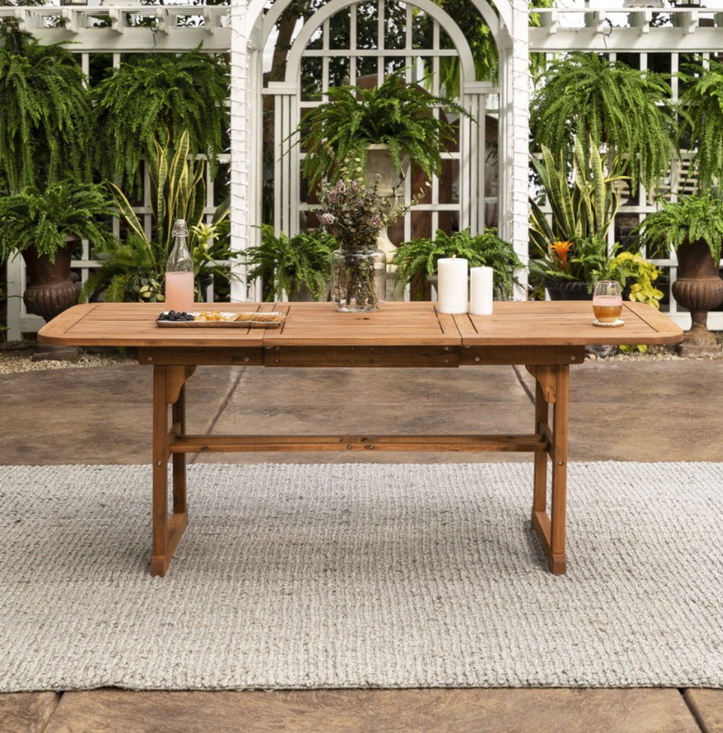 Manor Park Wood Outdoor Patio Extendable Dining Table