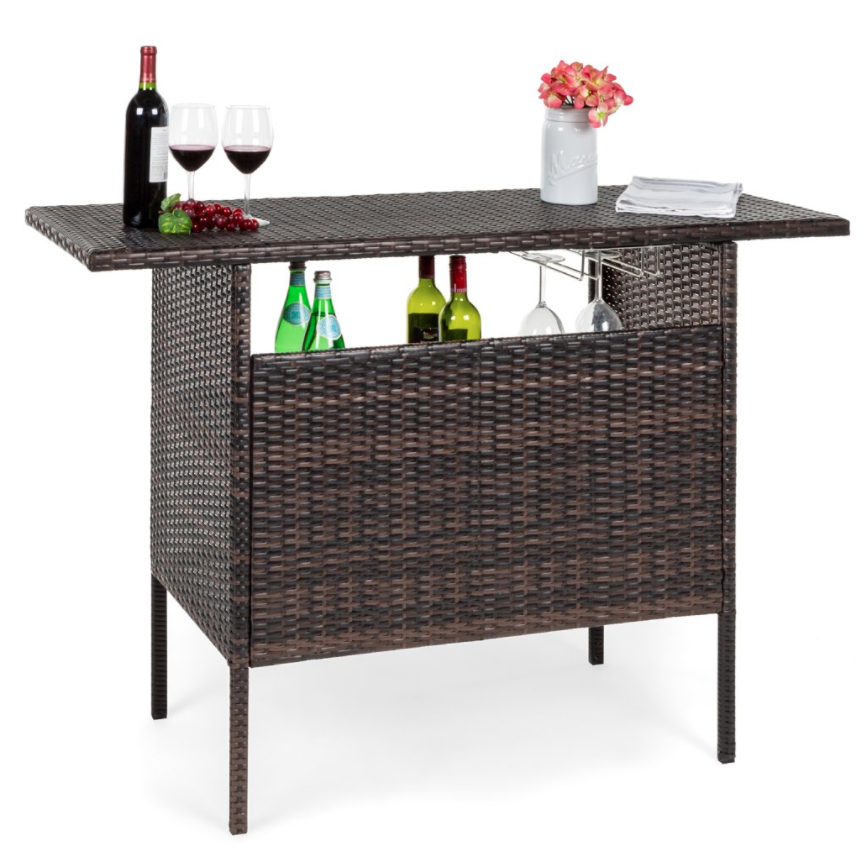 Best Choice Products Outdoor Patio Wicker Bar