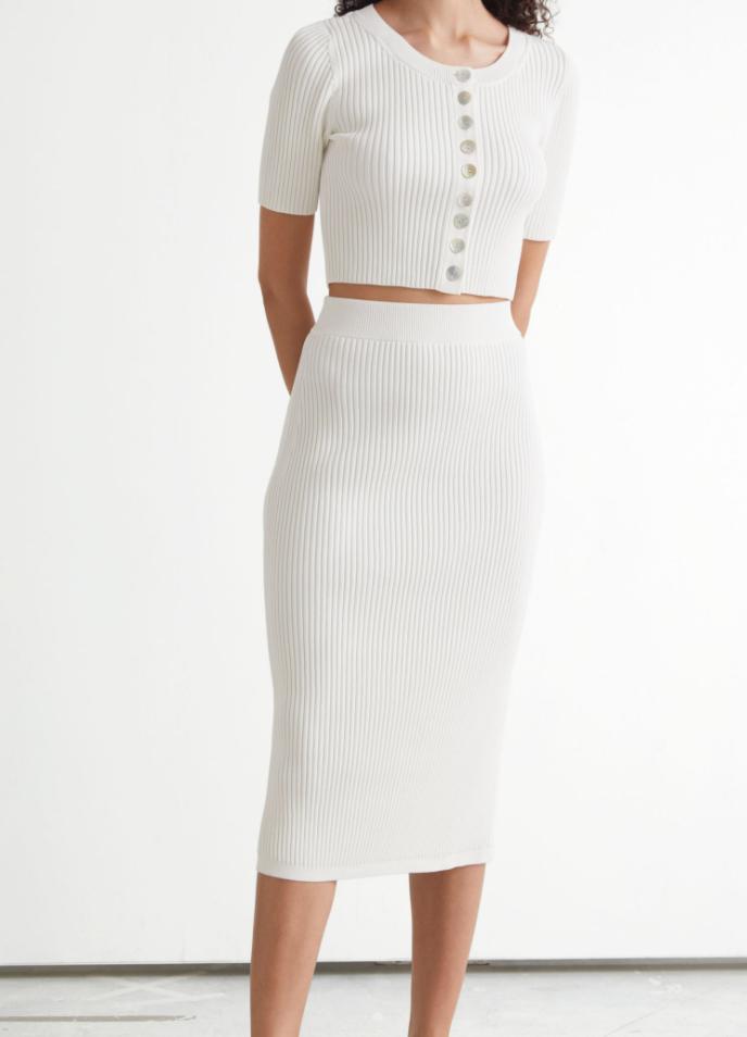 Ribbed Pencil Midi Skirt