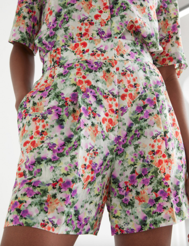 Wide Floral Print Shorts