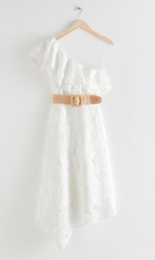 Belted One Shoulder Midi Dress