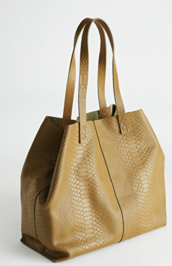 Snake Embossed Leather Tote Bag