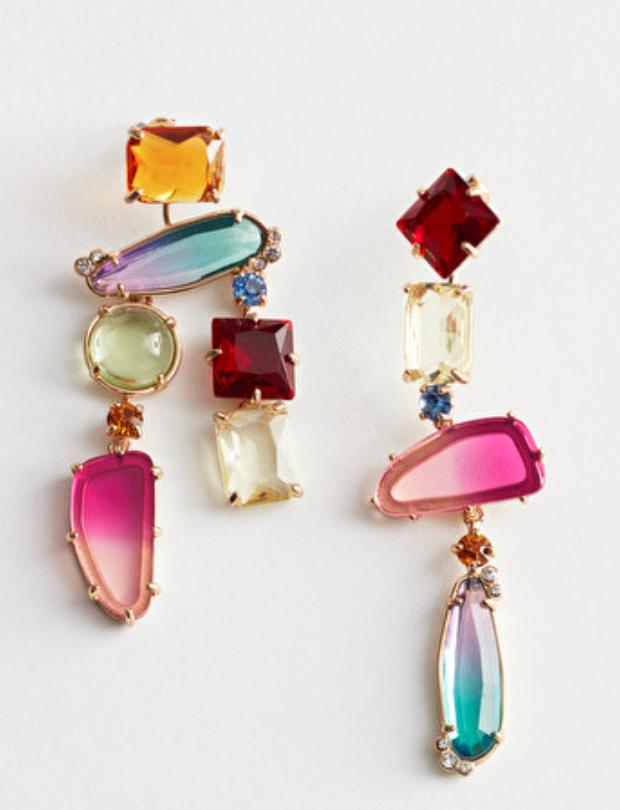 Rainbow Rhinestone Hanging Earrings