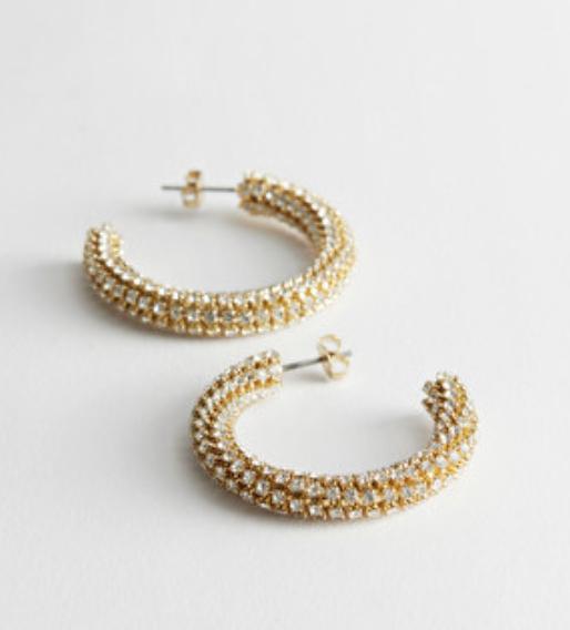 Rhinestone Stripe Hoop Earrings