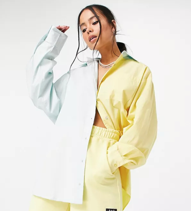 COLLUSION oversized shirt in blue and yellow splice