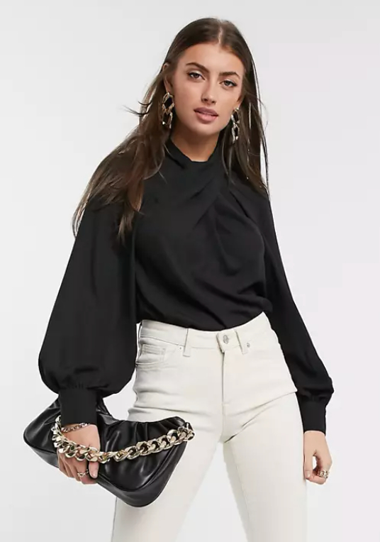 ASOS DESIGN long sleeve top with twist neck detail