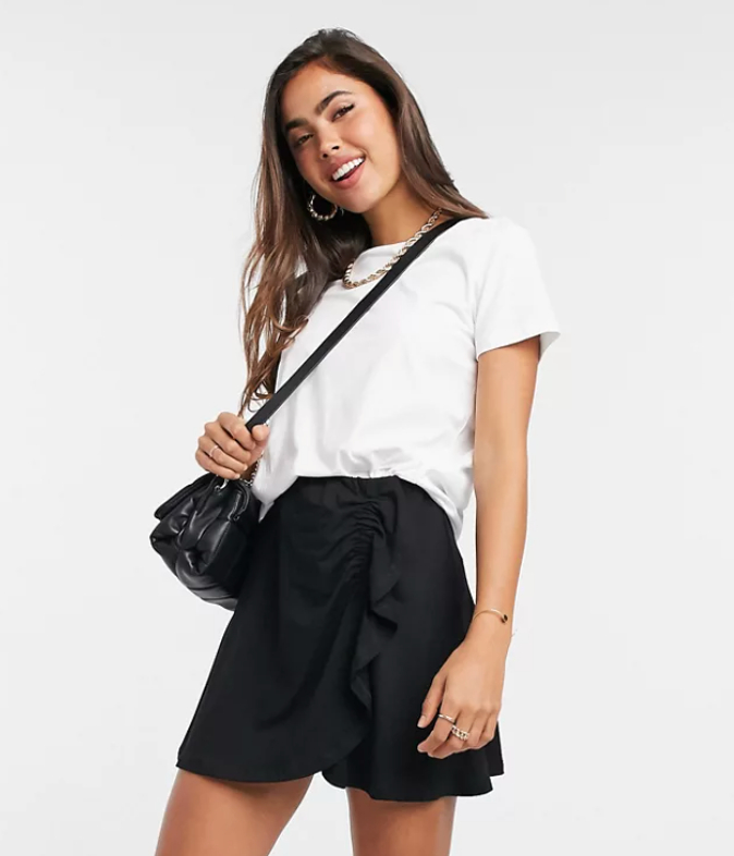 ASOS DESIGN mini skirt with ruched detail
