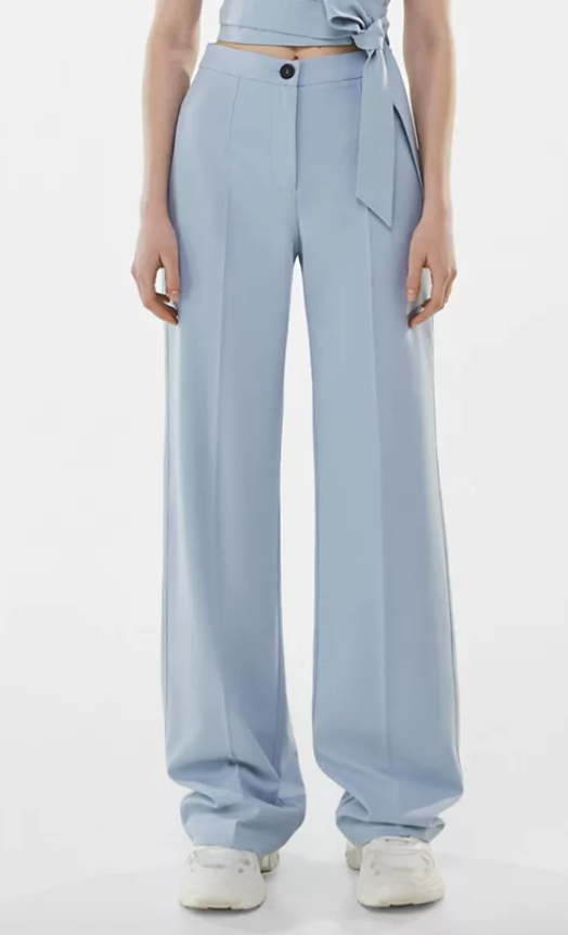 Bershka recycled polyester wide leg dad relaxed tailored pants