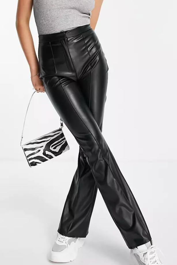 ASOS DESIGN jersey leather look kick flare pants