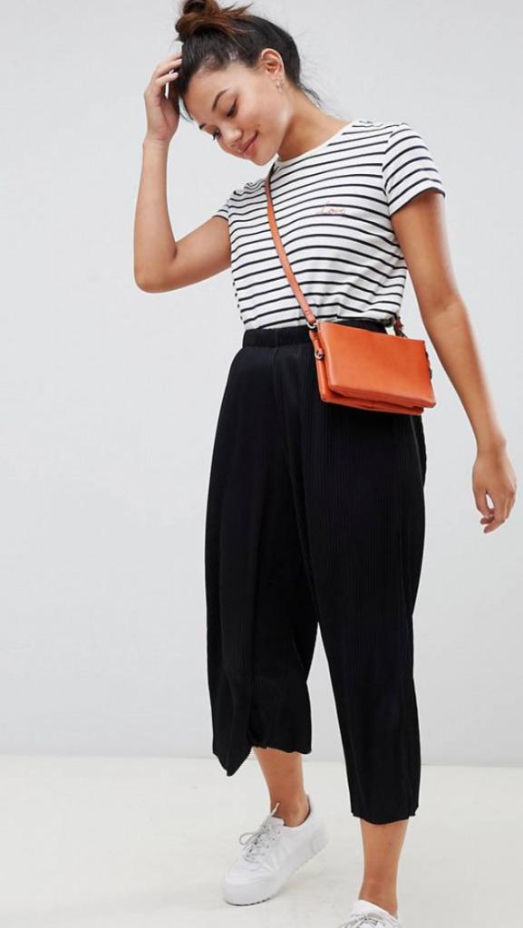ASOS DESIGN plisse culotte pants