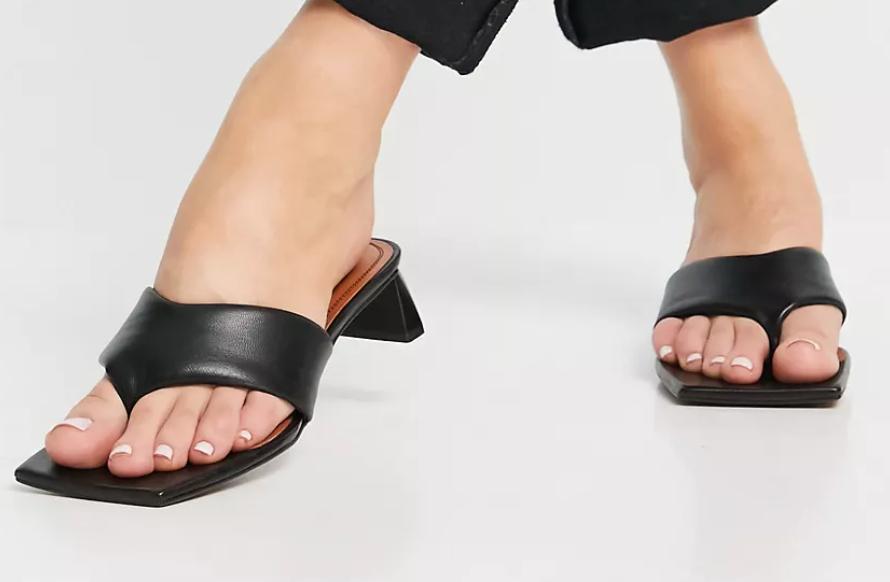 ASOS DESIGN Hydra premium leather toe thong heeled sandals