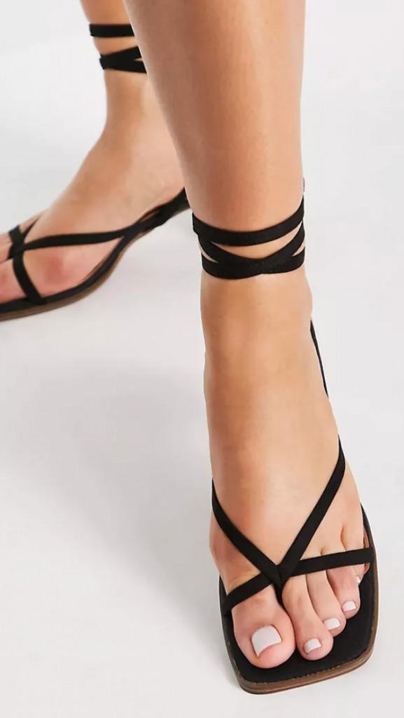 ASOS DESIGN Hana toe thong mid heeled sandals