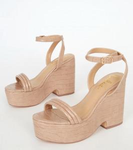 Kairi Medium Nude Crocodile-Embossed Platform Wedge Sandals