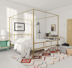 bed gold canopy