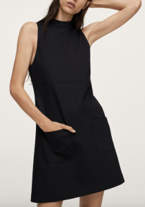 mock neck black dress
