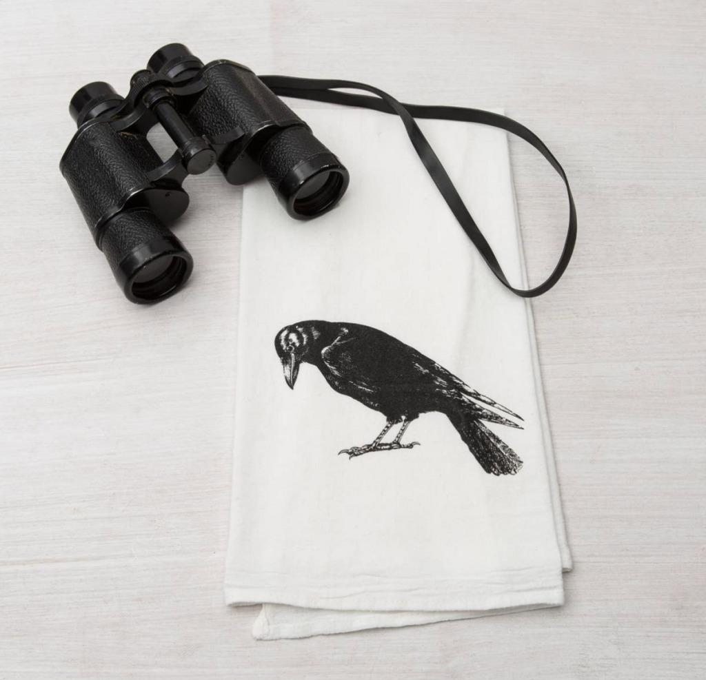 crow tea towel