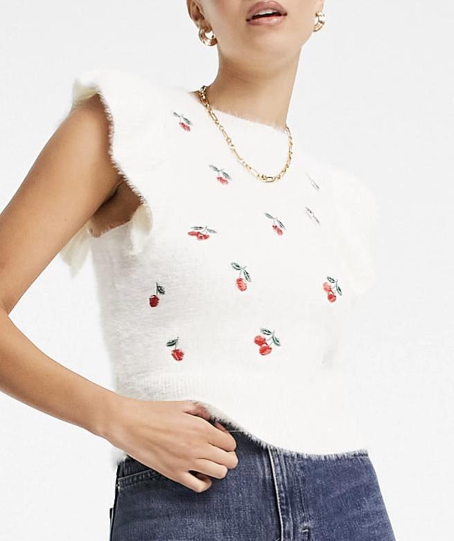 cherry sweater vest