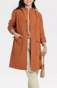 orange rain coat